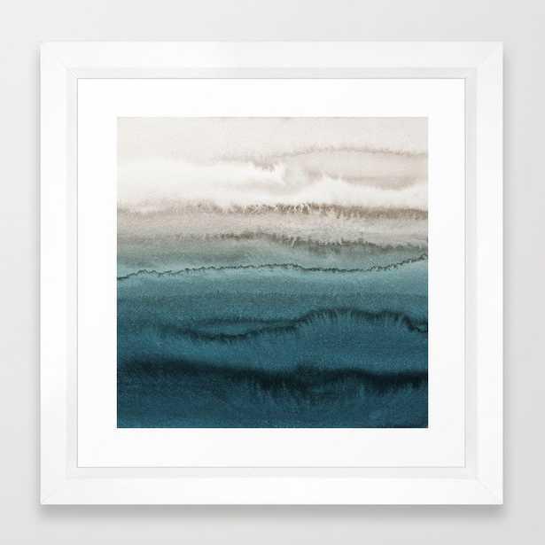 WITHIN THE TIDES - CRASHING WAVES TEAL Framed Art Print - 12x12 - vector white frame - Society6