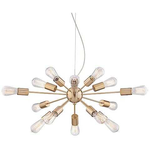 """Hemingson 33"""" Wide Gold 15-LED Sputnik Pendant Light - Lamps Plus"""