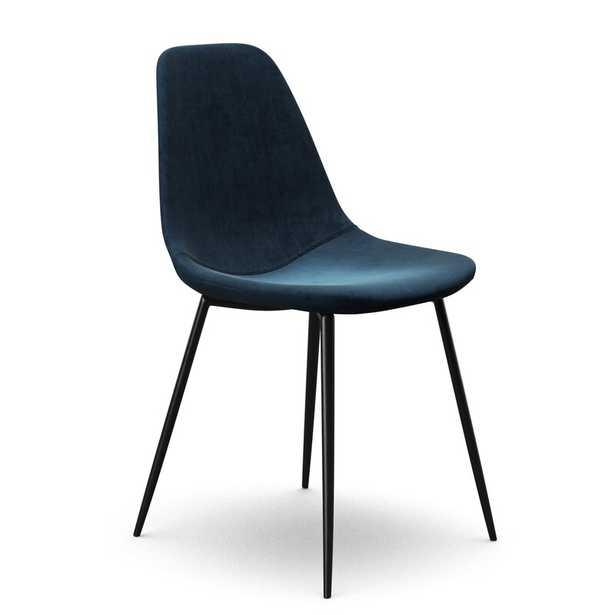 Aisha Velvet Upholstered Side Chair, Sapphire Blue (set of 2) - Wayfair