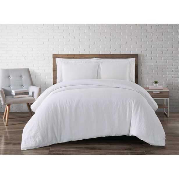 Beverly Linen 3 Piece Duvet Cover Set - White - King - Wayfair