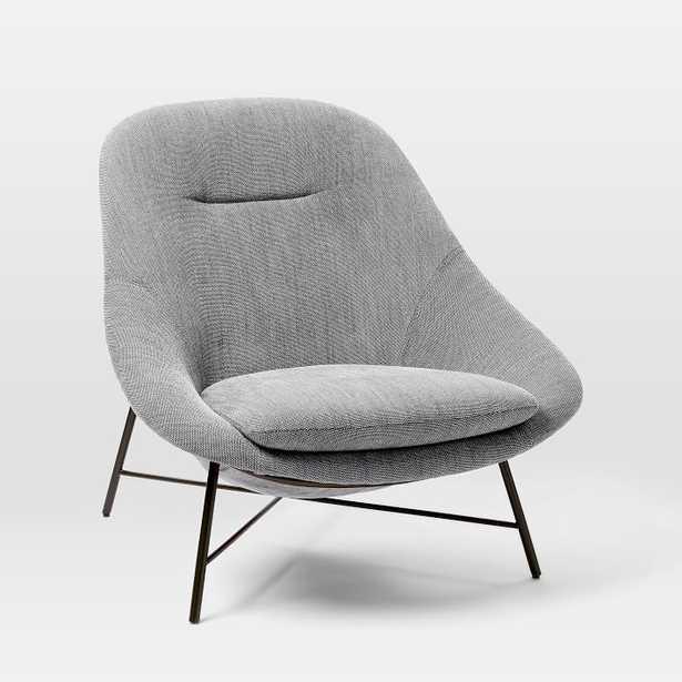 Alvi High Back Chair, Poly, Basket Slub, Platinum, Charcoal - West Elm