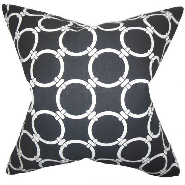 "Betchet Geometric Pillow Black - 20"" x 20"" - Down Insert - Linen & Seam"
