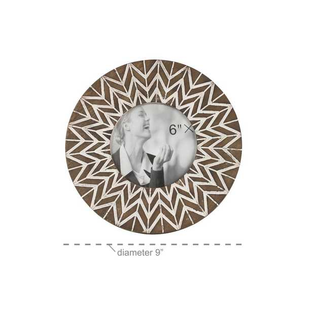 Litton Lane 5 in. x 5 in. Round White and Natural Carved Wood Picture Frame with Chevron Pattern - Home Depot