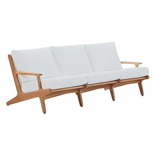 SARATOGA OUTDOOR PATIO PREMIUM GRADE A TEAK WOOD SOFA IN NATURAL WHITE - Modway Furniture