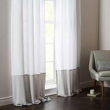 "Linen Velvet Colorblock Curtain, White/Frost, 48""X84"" - West Elm"