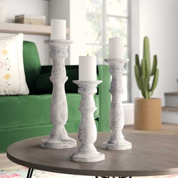 Wooden Candle Stand (SET OF 3) - Wayfair