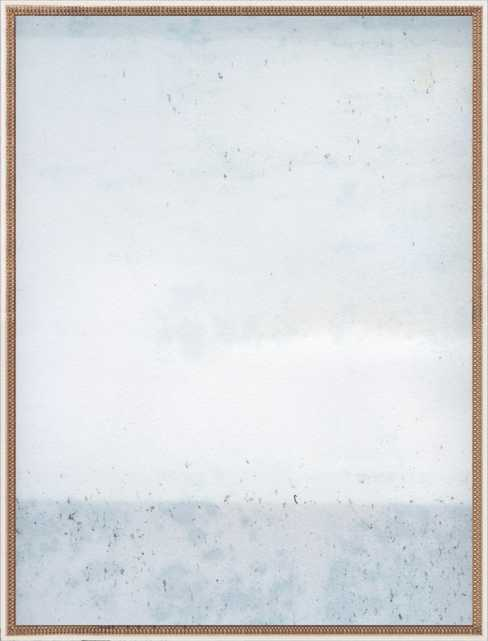 """Overcast- Soft Blues 52"""" x 40"""" Distressed Cream Double Bead Wood - Artfully Walls"""