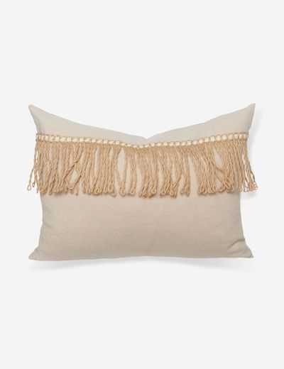 Lany Linen Lumbar Pillow, Crème Brulee - Lulu and Georgia