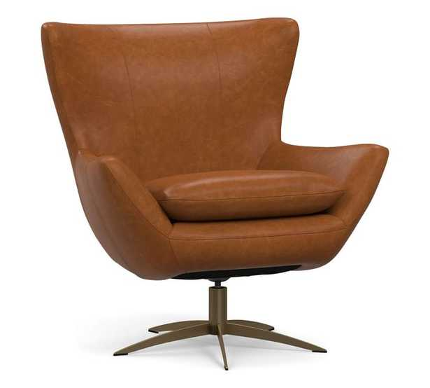 Wells Tight Back Leather Petite Swivel Armchair with Brass Base, Polyester Wrapped Cushions, Statesville Caramel - Pottery Barn