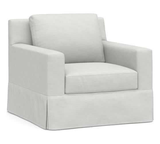 York Square Arm Slipcovered Swivel Armchair, Down Blend Wrapped Cushions, Performance Slub Cotton White - Pottery Barn