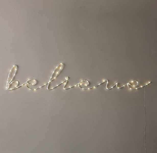 """STARRY LIGHT WALL DÉCOR - """"BELIEVE"""" - RH Teen"""