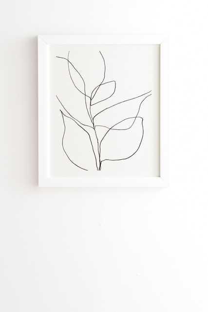 "MINIMALIST LINE ART PLANT DRAWING  BY GALLERYJ9 - Framed Wall Art Basic White 11"" x 13"" - Wander Print Co."