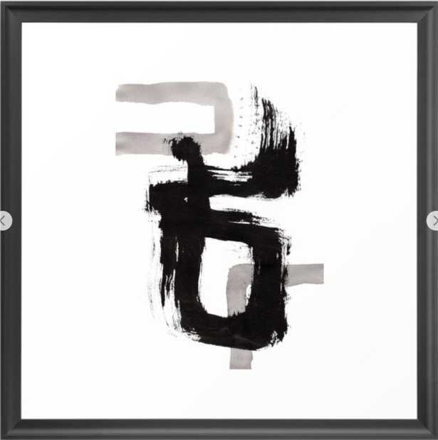 Live Your Color no.90 - black and white abstract painting brushstroke modern brush art Framed Art Print - Society6