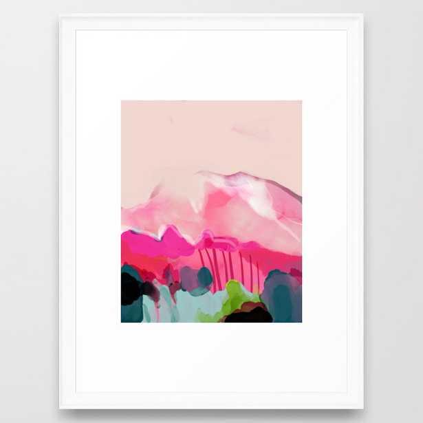 """pink mountain Framed Art Print 20""""x26"""" scoop white frame - Society6"""