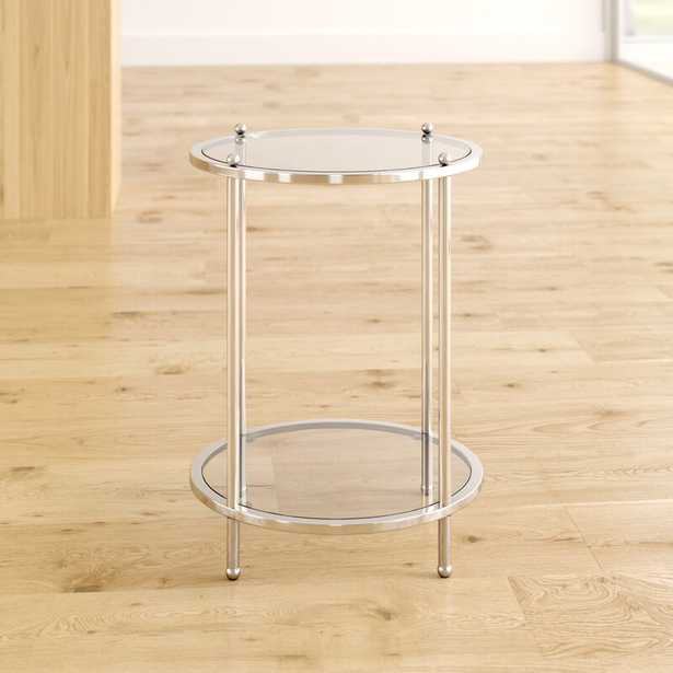 Cathleen Glass Top End Table with Storage - Wayfair