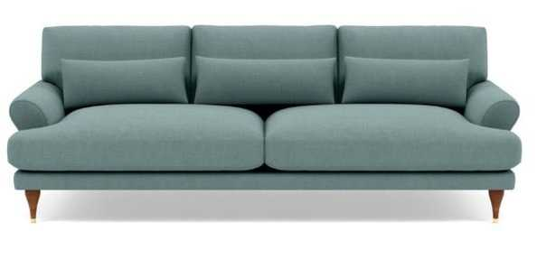 Maxwell Sofa with Blue Mist Fabric and Oiled Walnut with Brass Cap legs - Interior Define