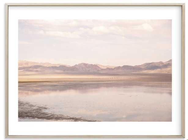 """desert lake  - 40 x 30"""" - Brass Frame White Border - Minted"""