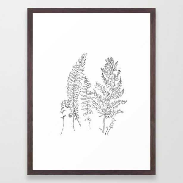 Minimal Line Art Fern Leaves Framed Art Print - Society6