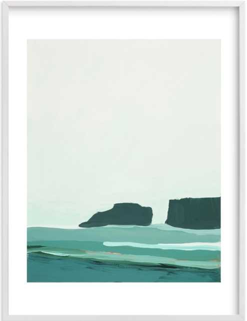 """Abstract Pacific Seascape Diptych 1 30"""" x 40"""" white wood frame, white border - Minted"""