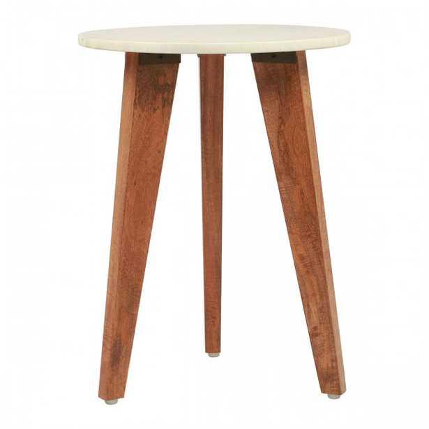 Axton End Table White Stone & Brown - Zuri Studios