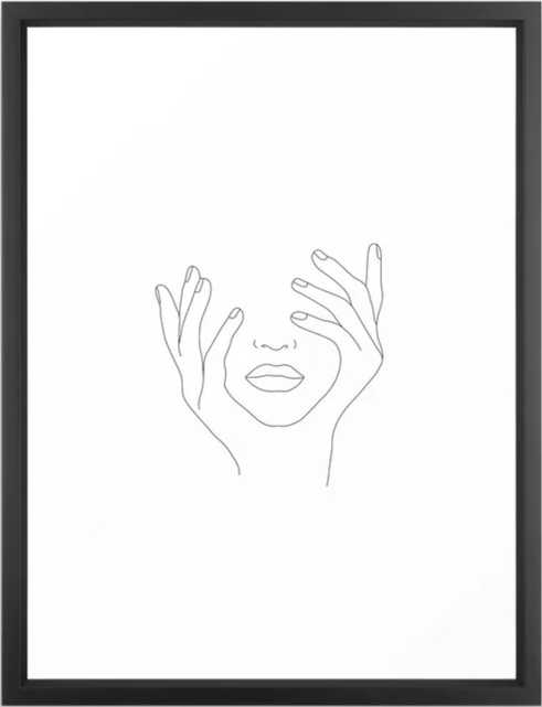 Minimal Line Art Woman with Hands on Face Framed Art Print - Anna Framed Art Print Vector Black - Society6