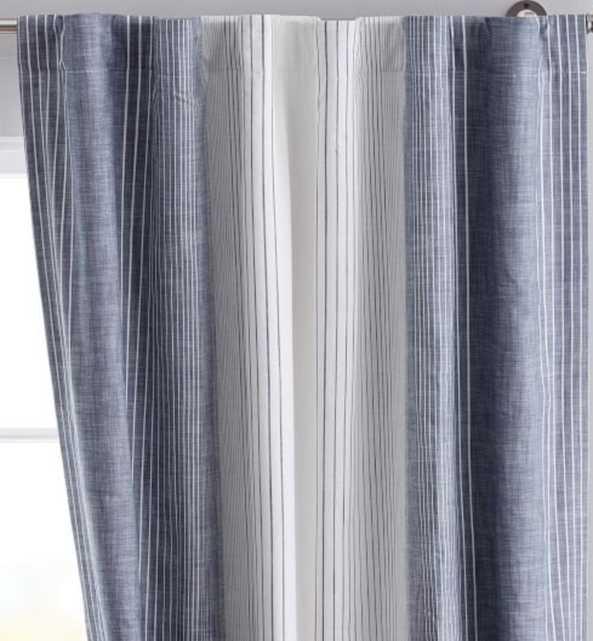 "Ombre Stripe Blackout Curtain Panel 96"", Navy - Pottery Barn Teen"