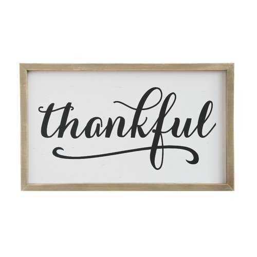 'Thankful' Framed Textual Art on Wood - Wayfair