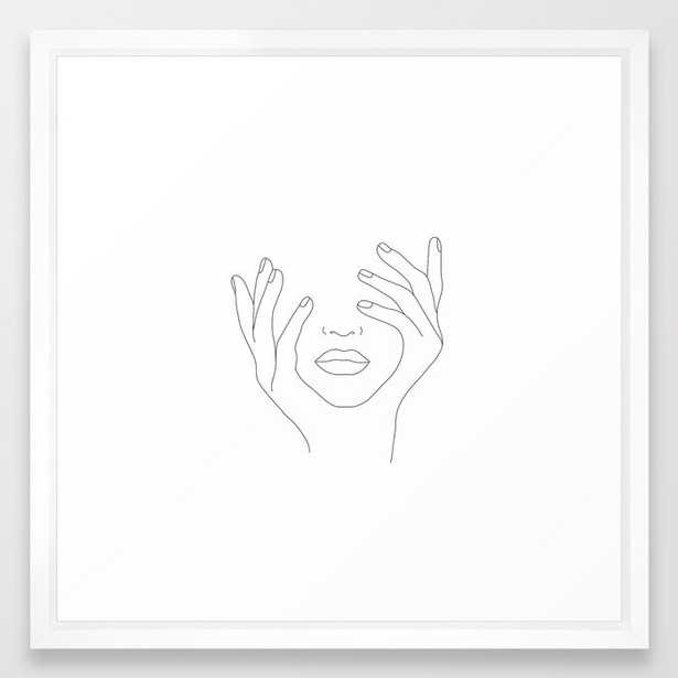 Minimal Line Art Woman with Hands on Face Framed Art Print - Society6