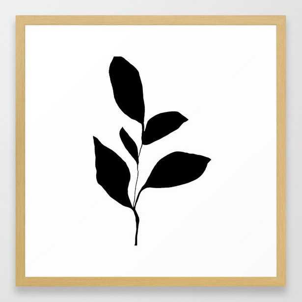 "Five Leaf Plant Black Silhouette Framed Art Print, Vector Black, 12"" X 12"" - Society6"