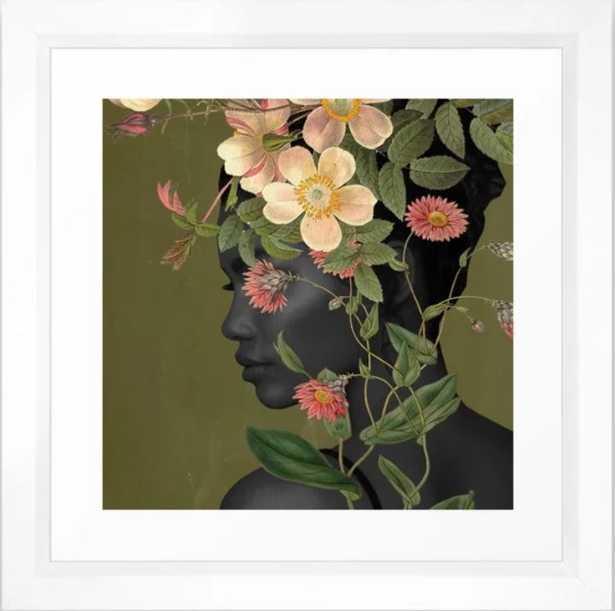 """Bloom Framed Art Print; frame- vector white; 12""""x12"""" - Society6"""