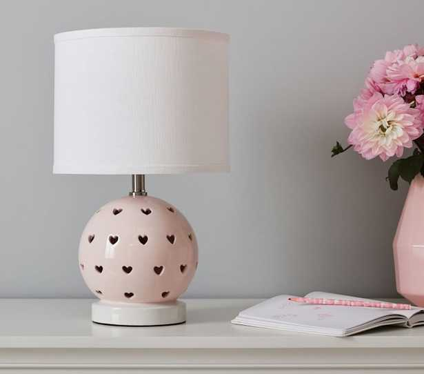 Blush Ceramic Heart Cut Out 3-Way Table Lamp - Pottery Barn Kids