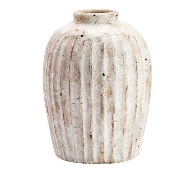 """Handcrafted Weathered Terra Cotta Vase, White, Small, 11.25""""H - Pottery Barn"""