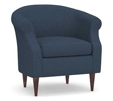 SoMa Lyndon Upholstered Armchair, Polyester Wrapped Cushions, Brushed Crossweave Navy - Pottery Barn