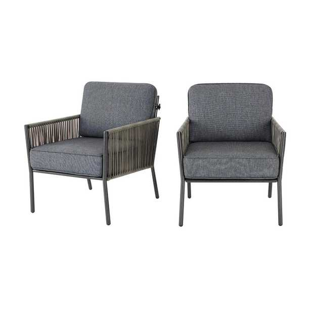 Tolston Wicker Outdoor Patio Stationary Lounge Chairs with Charcoal Cushions (2-Pack) - Home Depot