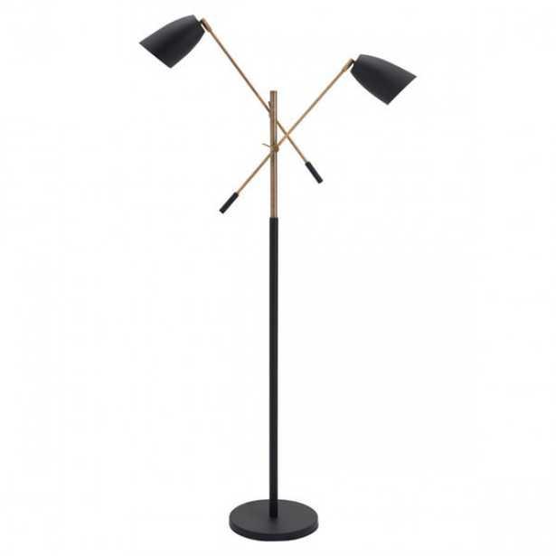 Tanner Floor Lamp Matt Black & Brass - Zuri Studios