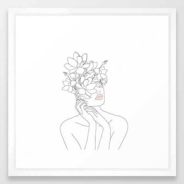 Minimal Line Art Woman with Magnolia Framed Art Print - Society6