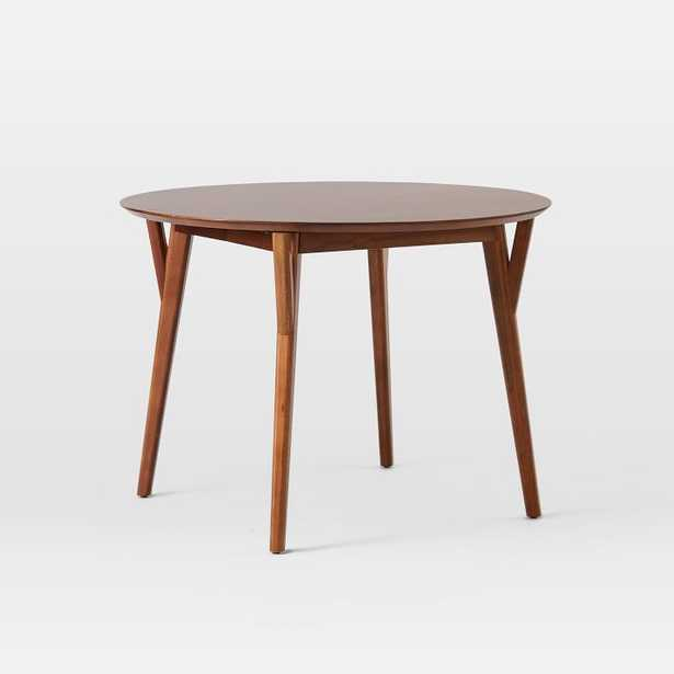 """Mid-Century Dining Table, 42"""" - 60"""" Round Oval Expandable, Walnut - West Elm"""