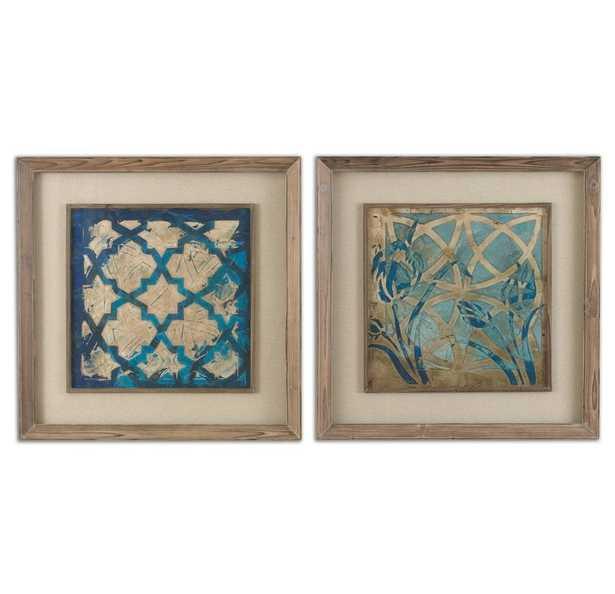 'Stained Glass Indigo' 2 Piece Picture Frame Print Set - Birch Lane