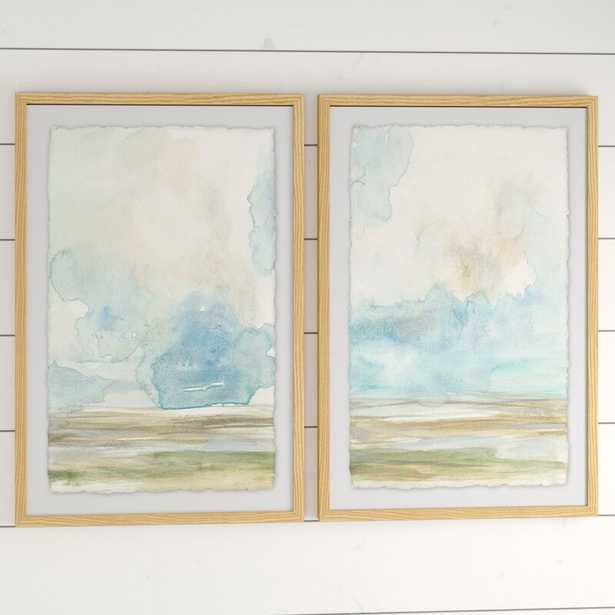 """'Pale Sunset Diptych' - 2 Piece Picture Frame Print Set on Paper, 36"""" H x 24"""" W x 1.5"""" L - Wayfair"""