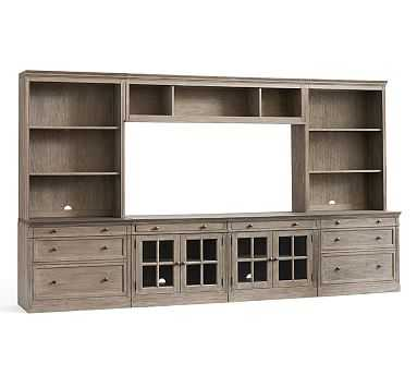 Livingston Large Media Suite With Drawers, Gray Wash - Pottery Barn