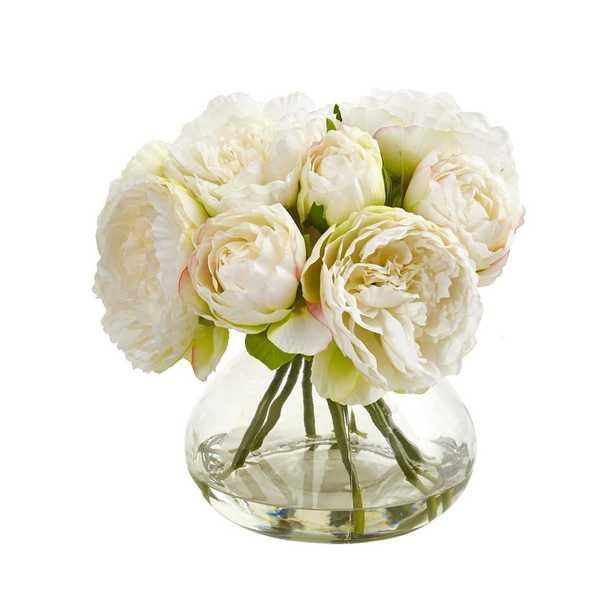 Peony Artficial Arrangement in Vase - Fiddle + Bloom