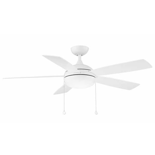 """52"""" 5 - Blade Propeller Ceiling Fan with Pull Chain and Light Kit Included - Perigold"""