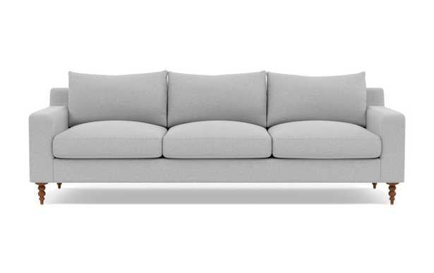 "SLOAN 3-Seat Sofa, Ecru Monochromatic Plush, Oiled Walnut Tapered Turned Wood Legs, 95"" Wide, 40"" Deep, Standard Down Blend - Interior Define"