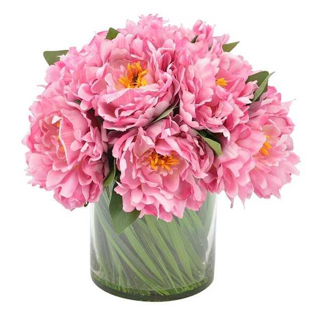 Peony Arrangement In Glass Vase, Pink - Perigold