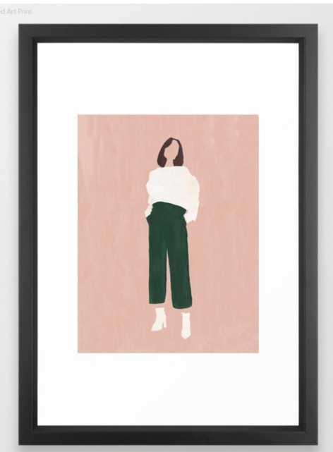 Pink + Green Framed Art Print - Society6