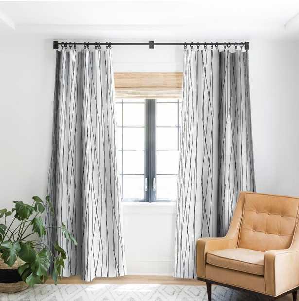 LINEAR CROSS STONE Blackout Window Curtain - 2 panels - Wander Print Co.