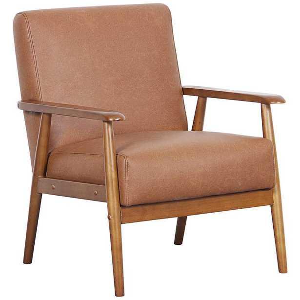 Rikker Lummus Cognac Faux Leather Accent Chair - Style # 35V24 - Lamps Plus