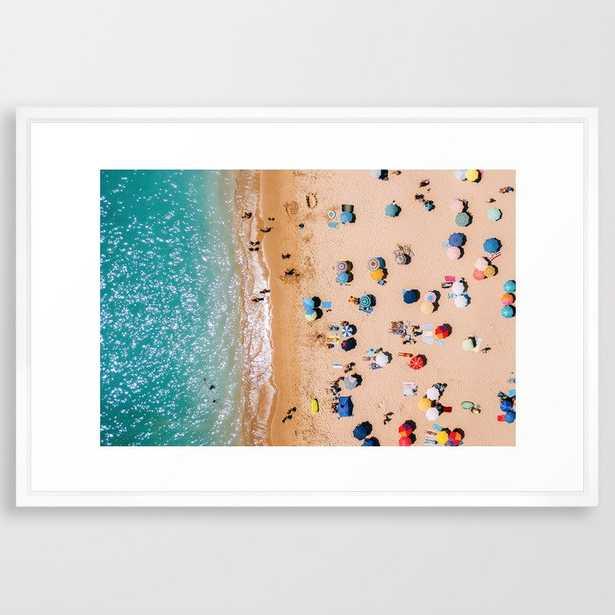 "People On Algarve Beach - 26"" x 38"" - vector white - Society6"