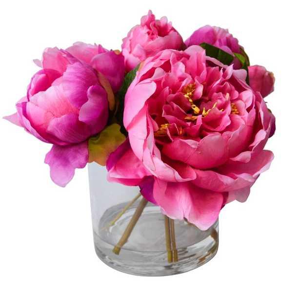 Fresh Cut Peony Floral Arrangements in Jar Flower Color: Pink - Perigold