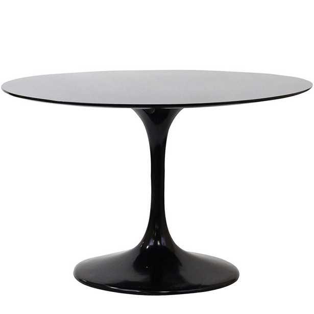 "LIPPA 48"" ROUND FIBERGLASS DINING TABLE IN BLACK - Modway Furniture"